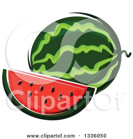 Clipart of a Cartoon Watermelon and Slice - Royalty Free Vector Illustration by Vector Tradition SM