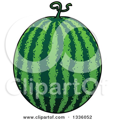 Clipart of a Cartoon Watermelon 2 - Royalty Free Vector Illustration by Vector Tradition SM