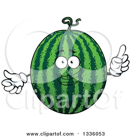 Clipart of a Cartoon Watermelon Character Holding up a Finger - Royalty Free Vector Illustration by Vector Tradition SM