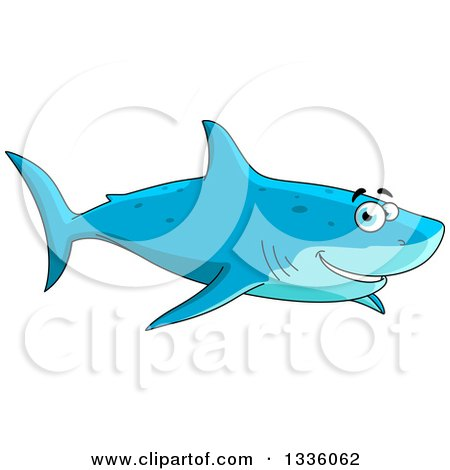 Clipart of a Cartoon Happy Blue Shark Smiling and Swimming - Royalty Free Vector Illustration by Vector Tradition SM