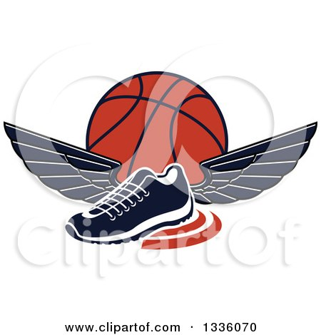 Clipart of a Black and White Winged Shoe over an Orange Basketball - Royalty Free Vector Illustration by Vector Tradition SM