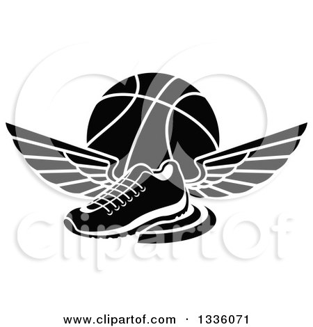 Clipart of a Black and White Winged Shoe over a Basketball - Royalty Free Vector Illustration by Vector Tradition SM