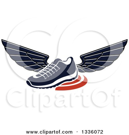 Clipart of a Navy Blue Winged Shoe over Orange Swooshes - Royalty Free Vector Illustration by Vector Tradition SM