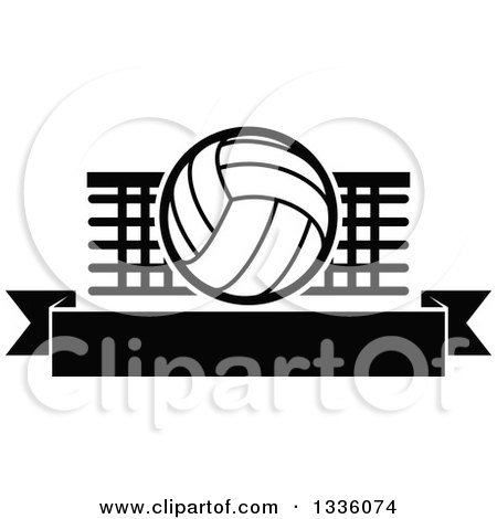 Clipart of a Black and White Volleyball over a Net and Blank Banner - Royalty Free Vector Illustration by Vector Tradition SM
