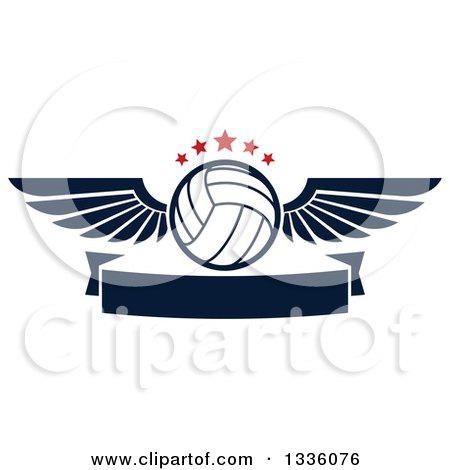Clipart of a Navy Blue and White Winged Volleyball with Red Stars over a Blank Banner - Royalty Free Vector Illustration by Vector Tradition SM