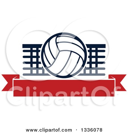 Clipart of a Navy Blue and White Volleyball over a Net and Blank Red Banner - Royalty Free Vector Illustration by Vector Tradition SM