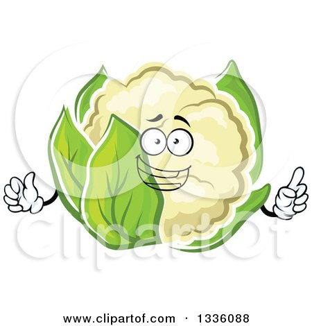 Clipart of a Cartoon Happy Cauliflower Character Giving a Thumb up 2 - Royalty Free Vector Illustration by Vector Tradition SM