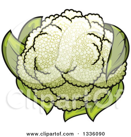 Clipart of a Cartoon Cauliflower 2 - Royalty Free Vector Illustration by Vector Tradition SM