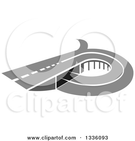 Clipart of a Grayscale Road or Highway with an Overpass - Royalty Free Vector Illustration by Vector Tradition SM