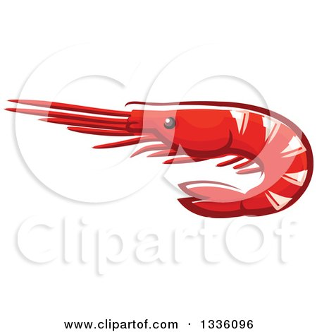 Clipart of a Cartoon Prawn Shrimp - Royalty Free Vector Illustration by Vector Tradition SM
