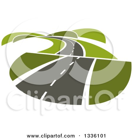 Clipart of a Curvy Hilly Road or Highway with Green Hills - Royalty Free Vector Illustration by Vector Tradition SM