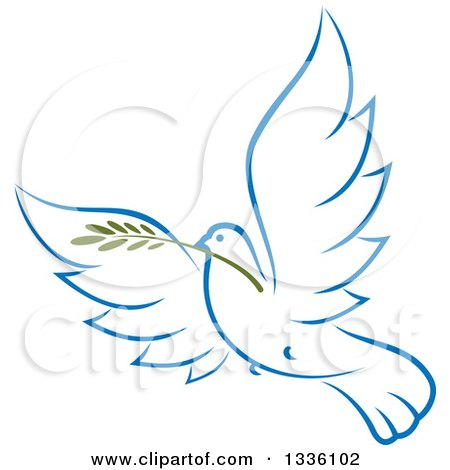 Clipart of a Sketched Light Blue Flying Peace Dove with a Branch 2 - Royalty Free Vector Illustration by Vector Tradition SM