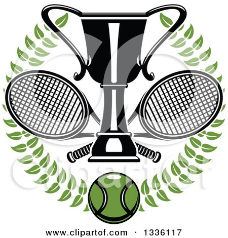 Clipart of a Green Wreath with a Tennis Ball, Crossed Rackets and Trophy Cup - Royalty Free Vector Illustration by Vector Tradition SM