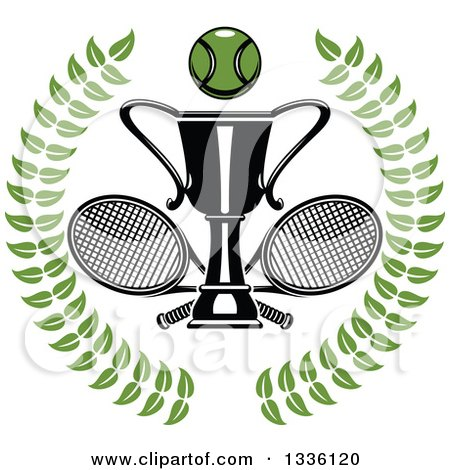 Clipart of a Green Wreath with a Tennis Ball over Crossed Rackets and Trophy Cup - Royalty Free Vector Illustration by Vector Tradition SM
