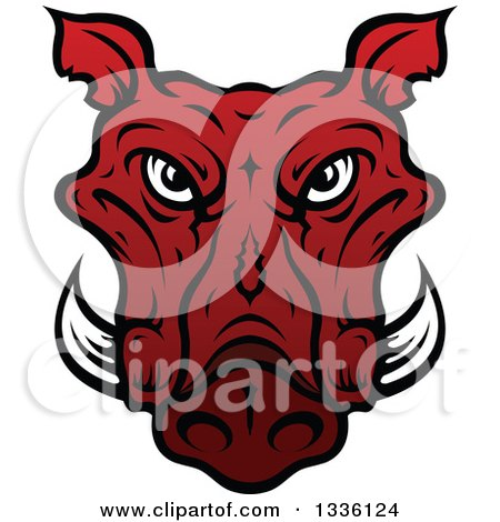 Clipart of a Red Boar Mascot Head 3 - Royalty Free Vector Illustration by Vector Tradition SM