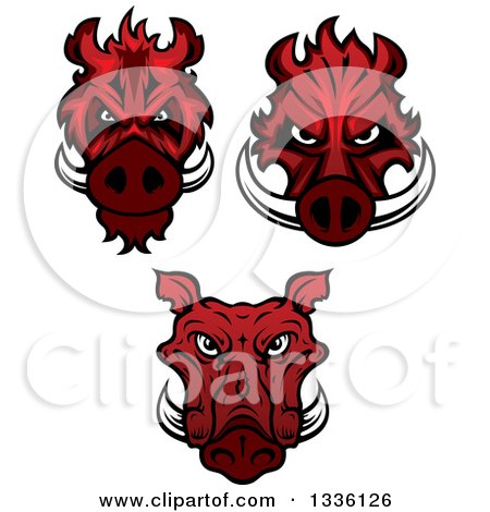 Clipart of Red Boar Mascot Heads - Royalty Free Vector Illustration by Vector Tradition SM