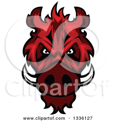Clipart of a Red Boar Mascot Head - Royalty Free Vector Illustration by Vector Tradition SM