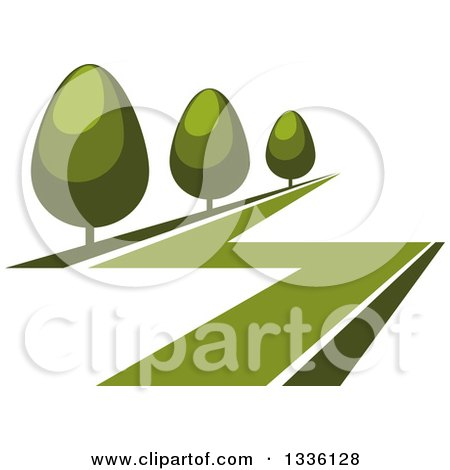 Clipart of a Green Lawn and Shrubs or Trees - Royalty Free Vector Illustration by Vector Tradition SM