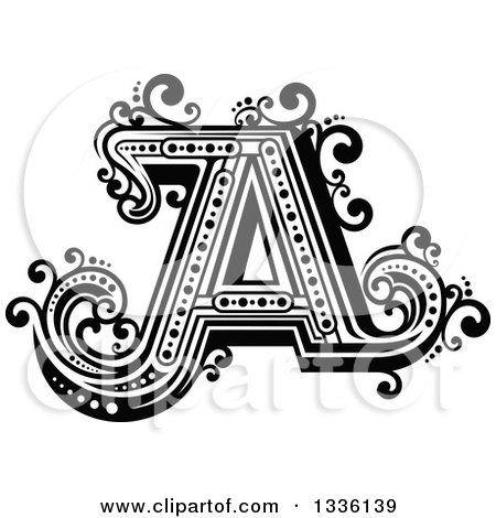 Clipart of a Retro Black and White Capital Letter a with Flourishes - Royalty Free Vector Illustration by Vector Tradition SM
