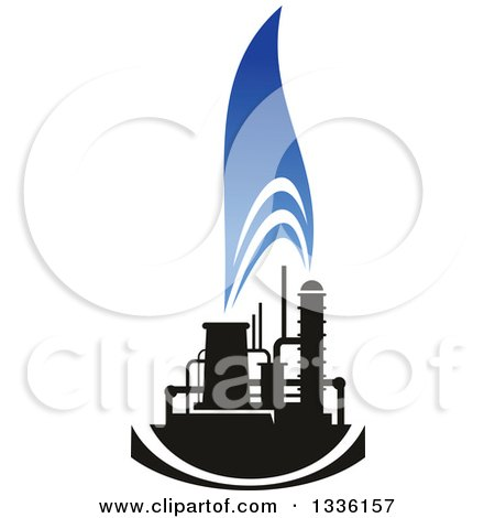 Clipart of a Black and Blue Natural Gas and Flame Design 17 - Royalty Free Vector Illustration by Vector Tradition SM