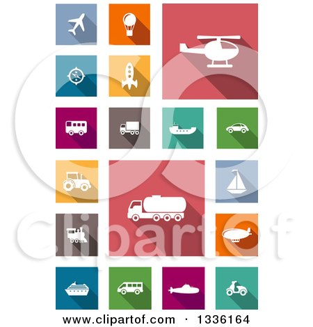 Clipart of White Flat Design Transportation Icons on Colorful Tiles - Royalty Free Vector Illustration by Vector Tradition SM