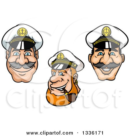 Clipart of Cartoon Happy White Male Nautical Captain Faces - Royalty Free Vector Illustration by Vector Tradition SM