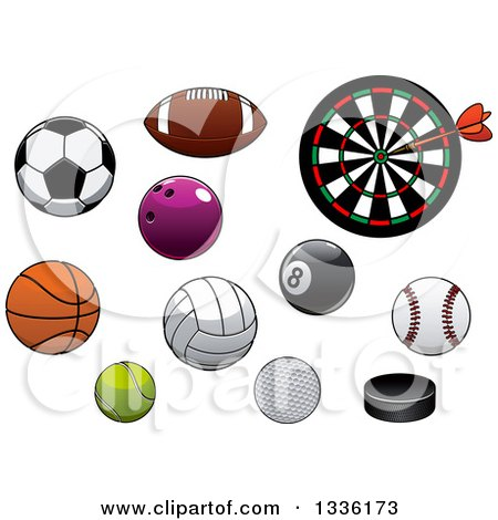 Cartoon Sports Balls And Pucks And A Dart Board Posters Art Prints By Interior Wall Decor 1336173