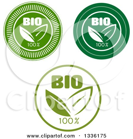 Clipart of a Round Green and White Bio Leaf Icons or Labels - Royalty Free Vector Illustration by Vector Tradition SM