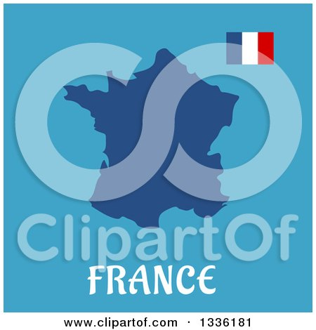 Clipart of a Flat Design French Flag and Map over Text on Blue - Royalty Free Vector Illustration by Vector Tradition SM