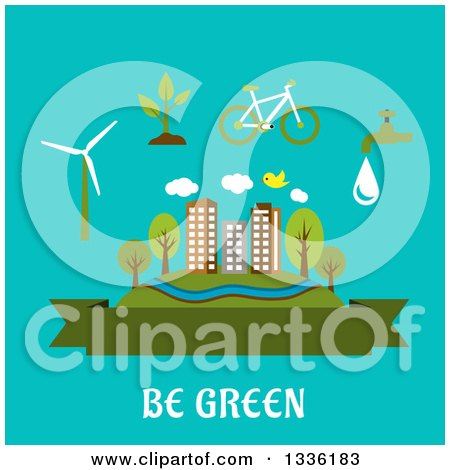 Clipart of a Flat Design City, Blank Banner and Green Living Items over Turquoise and Text - Royalty Free Vector Illustration by Vector Tradition SM