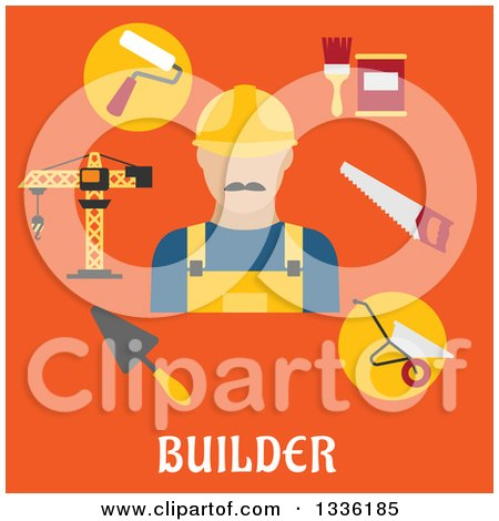 Clipart of a Flat Design Builder Avatar and Items over Text on Orange - Royalty Free Vector Illustration by Vector Tradition SM