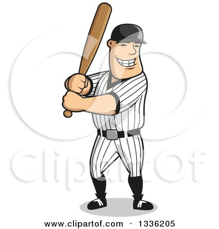 Clipart of a Cartoon Happy Grinning White Male Baseball Player Batting - Royalty Free Vector Illustration by Vector Tradition SM