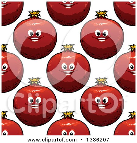 Clipart of a Seamless Pattern Background of Pomegranate Characters - Royalty Free Vector Illustration by Vector Tradition SM