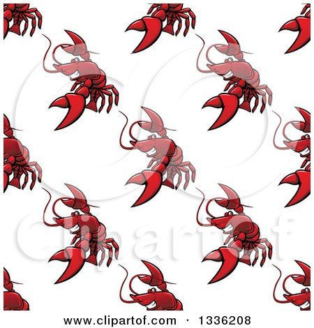 Clipart of a Seamless Pattern Background of Red Lobsters - Royalty Free Vector Illustration by Vector Tradition SM