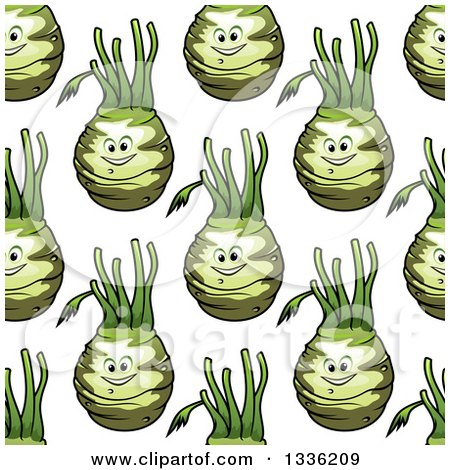 Clipart of a Seamless Pattern Background of Happy Kohlrabi Characters - Royalty Free Vector Illustration by Vector Tradition SM