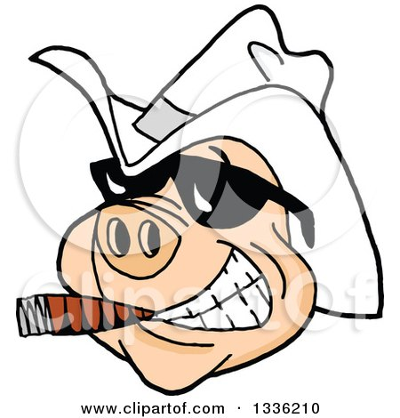 Clipart Of A Grinning Pig Wearing Sunglasses And A White Cowboy Hat Smoking A Cigar Royalty Free Vector Illustration