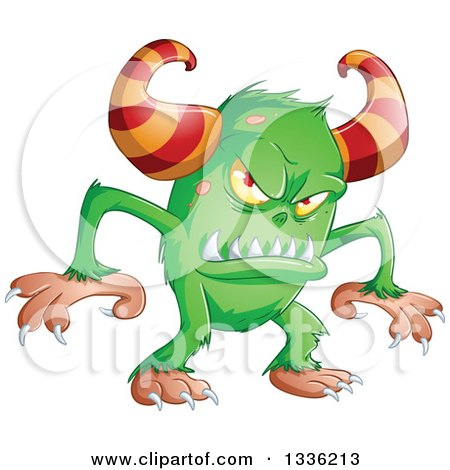 Clipart of a Cartoon Green Horned Monster - Royalty Free Vector Illustration by Liron Peer