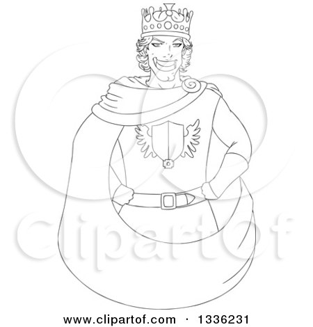 Clipart of a Cartoon Black and White Grinning Young Male King with Hands on His Hips - Royalty Free Vector Illustration by Liron Peer