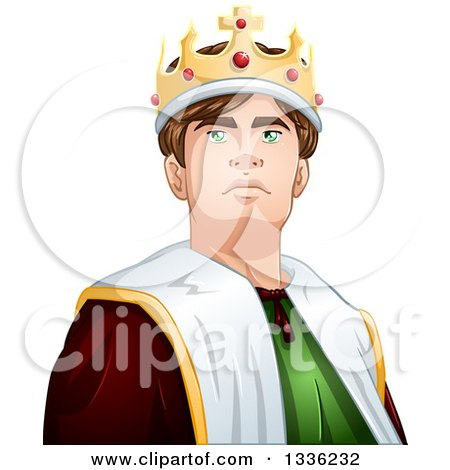 Clipart of a Cartoon Handsome Brunette Young White Male King from the Chest up - Royalty Free Vector Illustration by Liron Peer