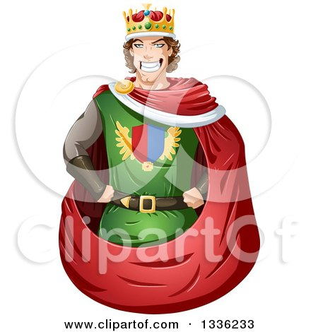 Clipart of a Cartoon Handsome Brunette Young White Male King - Royalty Free Vector Illustration by Liron Peer
