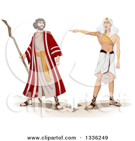Clipart of an Ancient Egyptian Pharaoh Sending Moses Away - Royalty Free Vector Illustration by Liron Peer