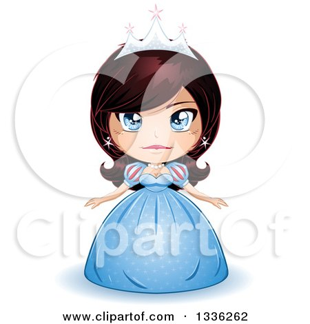 Clipart Of A Cartoon Brunette Blue Eyed Caucasian Princess In A Blue Gown Royalty Free Vector Illustration