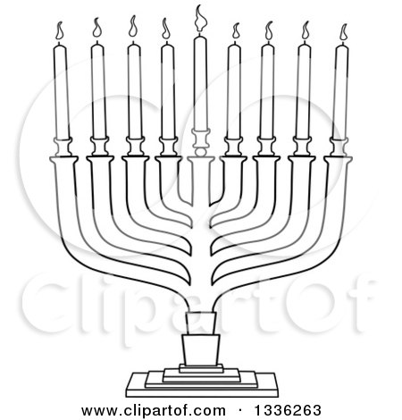 Clipart of a Black and White Hanukkah Menorah Lamp with Candles - Royalty Free Vector Illustration by Liron Peer