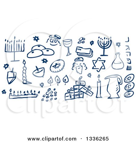 Clipart of Sketched Blue Jewish Holiday Hannukah Items - Royalty Free Vector Illustration by Liron Peer