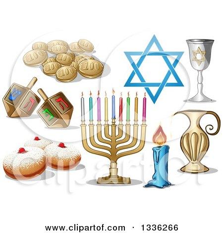 Clipart of Jewish Holiday Hanukkah Items - Royalty Free Vector Illustration by Liron Peer