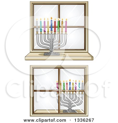Clipart of Silver Hanukkah Menorah Lamps with Colorful Candles in Windows - Royalty Free Vector Illustration by Liron Peer
