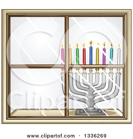 Clipart of a Silver Hanukkah Menorah Lamp with Colorful Candles in a Window - Royalty Free Vector Illustration by Liron Peer