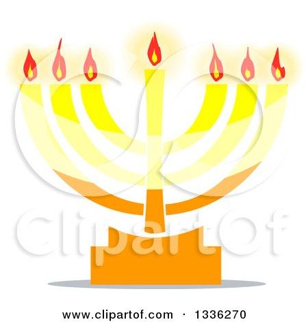 Clipart of a Hanukkah Jewish Menorah Lamp - Royalty Free Vector Illustration by Liron Peer