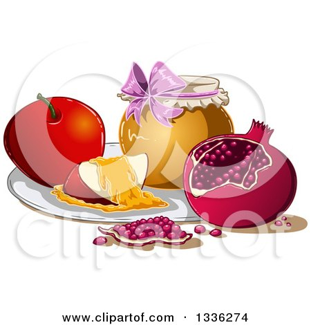 Clipart of a Honey Jar, Apple and Pomegranate for Rosh Hashanah - Royalty Free Vector Illustration by Liron Peer