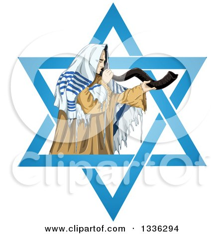 Clipart of a Rabbi with Talit Blowing the Shofar in the Star of David for the Jewish Holiday Yom Kippur - Royalty Free Vector Illustration by Liron Peer